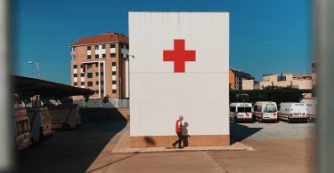 The Red Cross on a white wall