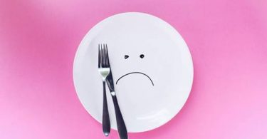 Diet concept with sad face on a plate