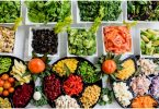 Colorful salad bar with healthy food