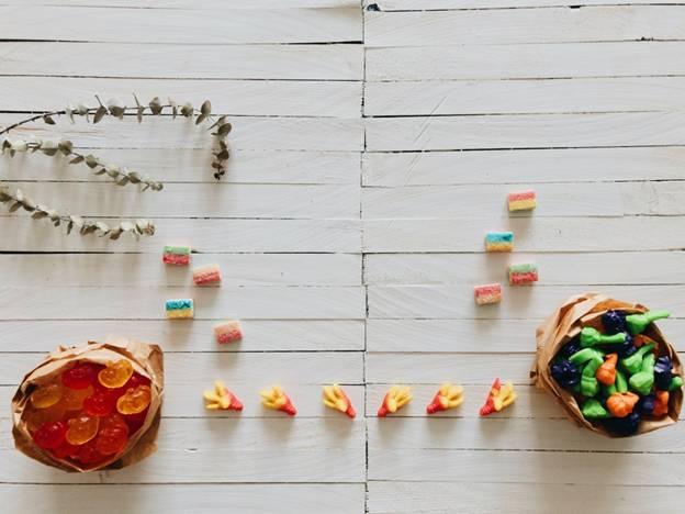 CBD gummies placed on a table