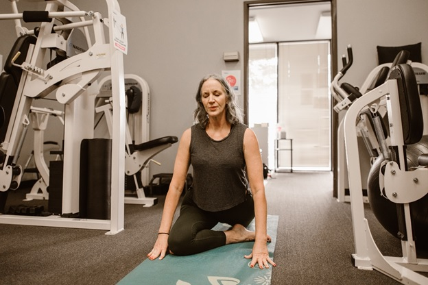 Woman with menopause exercising