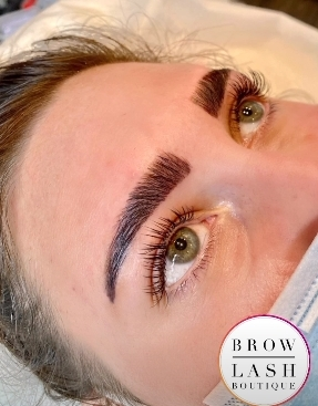 A brow lamination client at the Brow & Lash Boutique in Nassau County