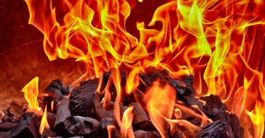 Hot flames that can cause a burn.