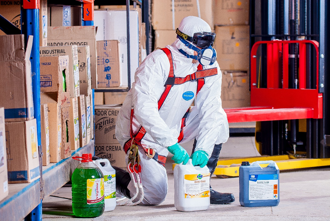 Person in sanitization suit