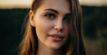 Woman with beautiful tinted eyebrows.