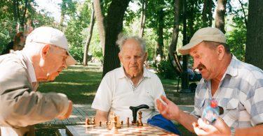 senior citizens playing chess