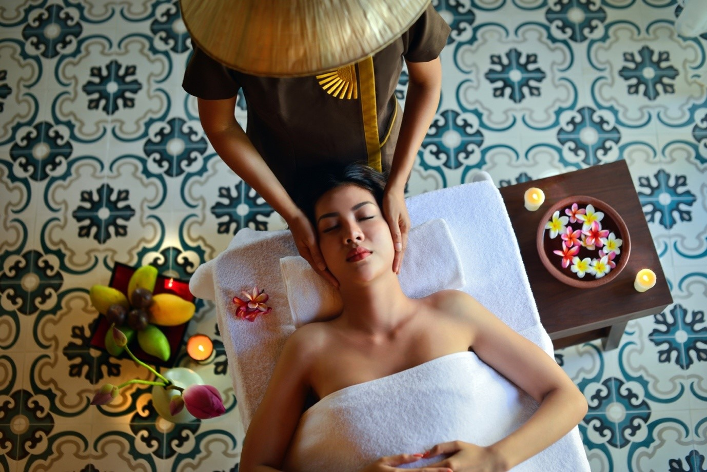 A person relaxing at a spa