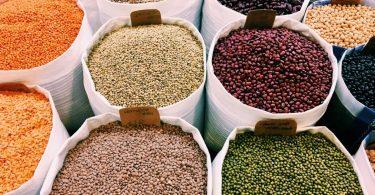A variety of fresh, organic lentils