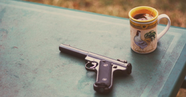 handgun placed on a table