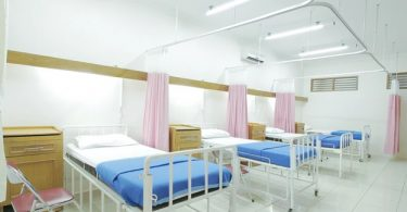 Hospital beds in a ward