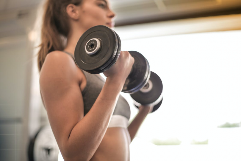 A girl gaining muscle