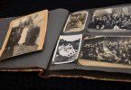 A photo album with black and white photos