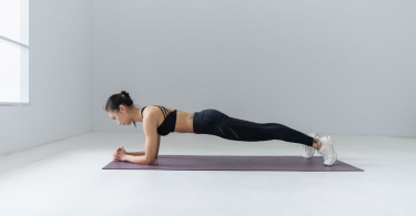A woman in plank position