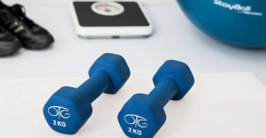 fitness equipment including dumbbells and a body composition scale